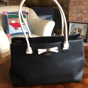 kate spade ♠️ black leather tote with pink bow